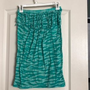 Teal tube top with tiger pattern.